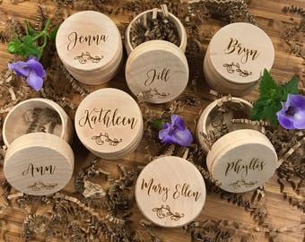 Custom Wedding Ring Box, Wooden Ring Box, Ring Bearer Box, Personalized Wedding Ring Box, Bridesmaid Gift, Rustic Ring Box