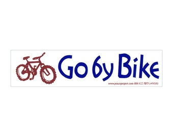 Go By Bike - Small Bumper Sticker / Decal or Magnet