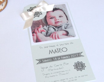 Baptism invitations or communion with photo cloud