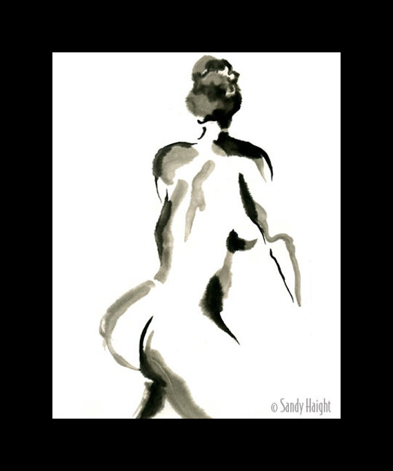 Original Sumi Figure Painting, 25% OFF SALE! framed art, tonal black & white, nude, back, woman, female, wall art, home decor, brush and ink