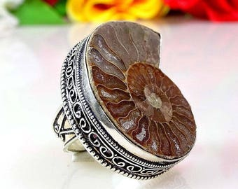 Big Fossil Ammonite Sterling Silver Ring size 9.25