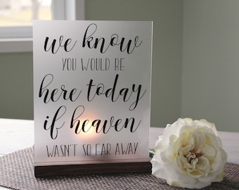 Memorial Candle Holder - Wedding Memorial - Heaven Memorial - We Know You Would Be Here Today - Acrylic Sign - Wedding Luminary Sign