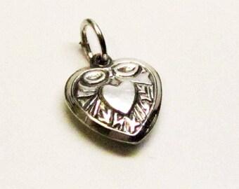 SILVER HEART, CHARM, Bridesmaids Gift, Barn Wedding, Barn Wedding Favors, Boho Jewelry, Mom Gift, Heart Charm, Mom Gift, Gift for Wife