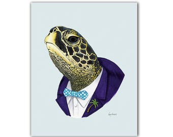 Sea Turtle art print - Animal art - Nursery art - Nursery decor - Animals in Clothes - Children's art - Ryan Berkley Illustration 5x7