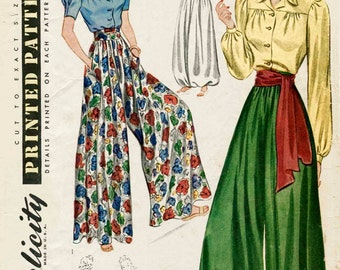 1930s 1940s vintage sewing pattern palazzo pants wide leg trousers lounge blouse sash belt bust 34 b34 reproduction