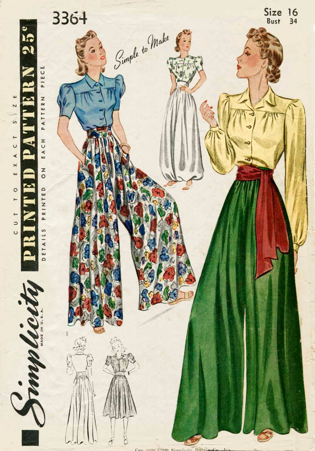 1930s 1940s Vintage Nähen Muster Palazzo Hose weites Bein Hose