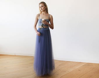 Dusty Blue Bridesmaids Tulle Maxi Skirt 3005