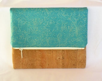 Turquoise & Cork Fabric Foldover Clutch, Hand Purse, Zippered Purse, Purse, Zippered Pouch, Handbag