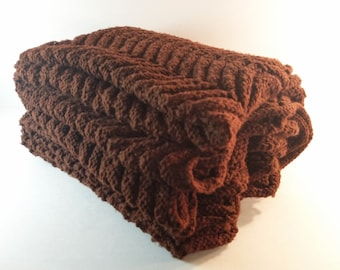 Large Vintage Hand Knitted Cocoa Brown Afghan. Rippling Wave/Chevron Stitch. Retro, End of Bed Coverlet. Throw Blanket. Mix & Match Linens.