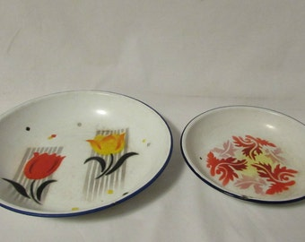 Enamelware, Shallow Pans/Plates, Hand Painted, Set of Two, China, Old, 1950's or Earlier