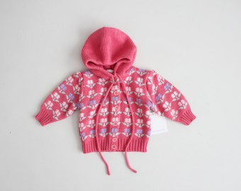 pink floral sweater | 3-6 months sweater | hooded sweater coat