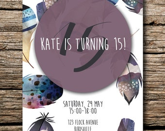 Birthday Party Digital Invite -   Birds of a Feather 2