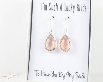 Blush Silver Teardrop Earrings, Light Peach Silver Earrings, Bridesmaid Gift, Wedding Jewelry, Bridesmaid Earrings, Bridal Accessories