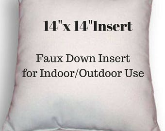 "Pillow Form - 14"" x 14"" Pillow Insert - Indoor or Outdoor Use - Faux Down Insert for Your Patio or Home Decor Use"