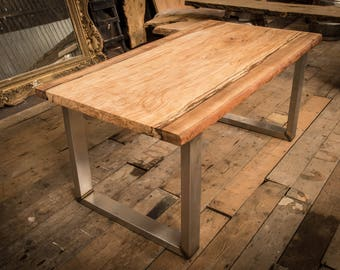 Natural Live Edge Solid Slab Beech Table