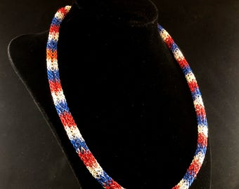 Red White & Blue Viking Weave Necklace