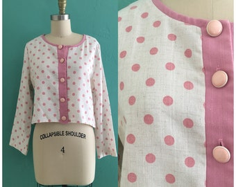 vintage 80's pink polka dot cropped jacket // polka dot spring top