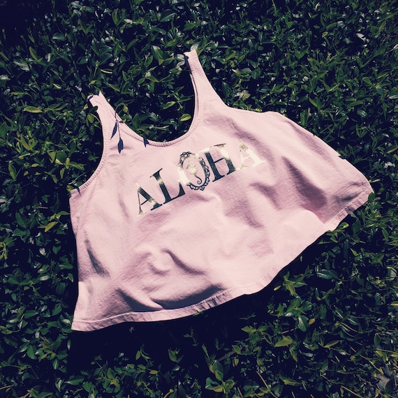 Blush Pink Aloha Crop Tank / Organic Cotton Collection