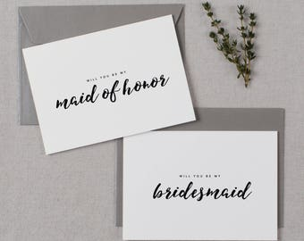 4 x Will You be My Bridesmaid Card, Bridesmaid Proposal, Maid of Honor Card, Will You Be My Maid of Honor, Bridesmaid Card, Bridal Cards, K8