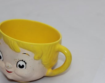 Vintage Childs Cup Mug Sippy Smiling Blonde