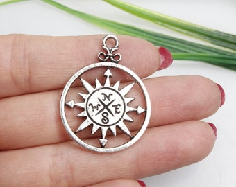 Own Charm~Compass, Compass Charm, Compass Pendant, Compass Connector, Nautical Style, Navy, Jewelry Making, Findings, DIY Supplies, 28x36mm