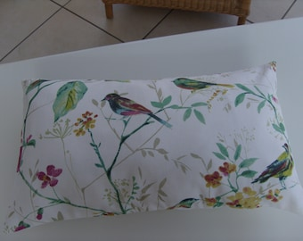 "Cushion Cover Bird Pattern/Botanical- Lumbar Rectangular 20"" by 12"" 'Birdsong'by Prestigious Textiles 100% Cotton Furnishing Fabric"