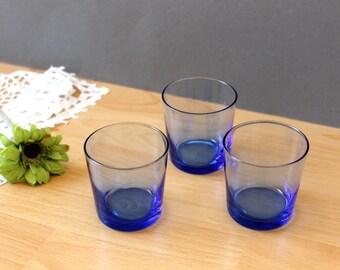 Vintage Set of 3 Blue Short Glasses, Drinking Glasses, Liqueur Glasses