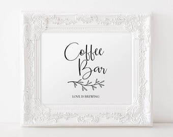 Coffee Bar Printable Sign - Rustic Branch Detailing - Black and White Sign - Wedding Printable - Holiday party - Download 8x10 PDF - #GD4306