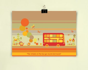 RED BUS - Children's / kid's / baby's personalised print - Children's wall art - Baby's bedroom wall art - Child's gift
