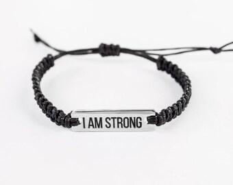 I am Strong Bracelet, Inspirational Bracelet, Word Bracelet, Inspiration Jewelry, Inspiration Gift, Gift for Her, Friendship Bracelet