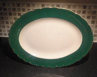 Vintage Royal Staffordshire Green and Gold Stars Serving plate -Clarice Cliff