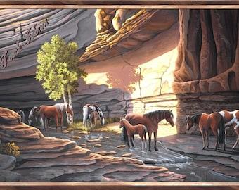 "Quilting Treasures ""Sundance"" 24795-X Canyon Horses Large Fabric Panel 23.5"" x 44"""