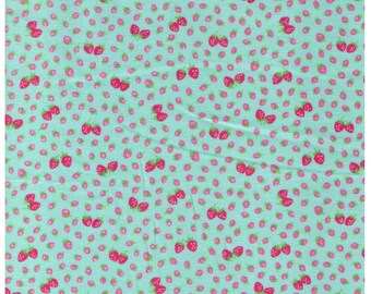HALF YARD Yuwa - Mini and Petite Pink Strawberries on Mint Blue Green 826017-D - Atsuko Matsuyama 30s collection - Perfect for tiny Zakka