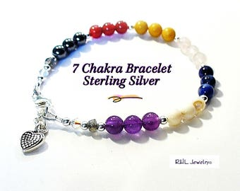 Seven Chakra Bracelet, Ladies Gemstone Bracelet, Chakra Jewelry, Sterling Silver - B2013-22D