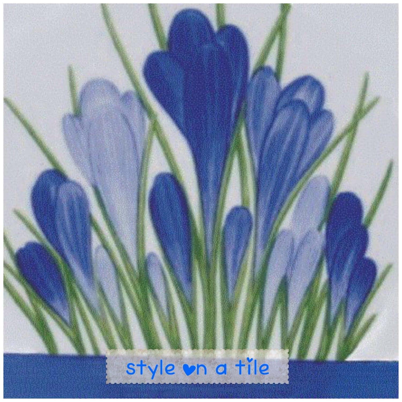 Lovely Clarice Cliff Blue Spring Crocus 6/152mm ceramic tile trivet ...