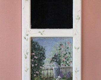 Hand painted garden scene on a cork/chalk board