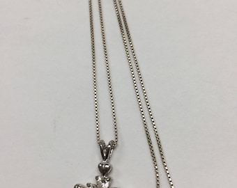 """Beautiful Sterling Silver CZ Cross with 16"""" Sterling Silver Box Chain"""