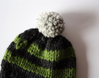 Gray and green hat. Striped winter hat. Toddler winter hat. Pom pom beanie. Green winter hat. Striped beanie. Boy striped hat. Green boy hat
