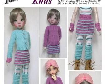 """KNITTING Pattern KP-006: Capsule wardrobe in 4ply (sport)  for Kaye Wiggs dolls.  (43cm/17"""" Mei Mei and 45cm/18"""" MSD)"""