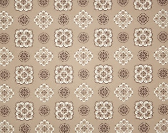 1950s Vintage Wallpaper by the Yard - Brown and White Geometric Design