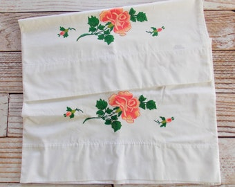 Vintage Painted Pillowcases / Pink Rose / Vintage Linens