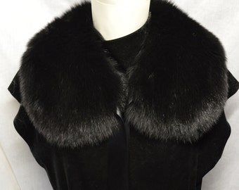 Real Genuine Fox Fur Black Collar new made in usa  authentic