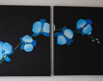 Blue Orchids Acrylic Painting