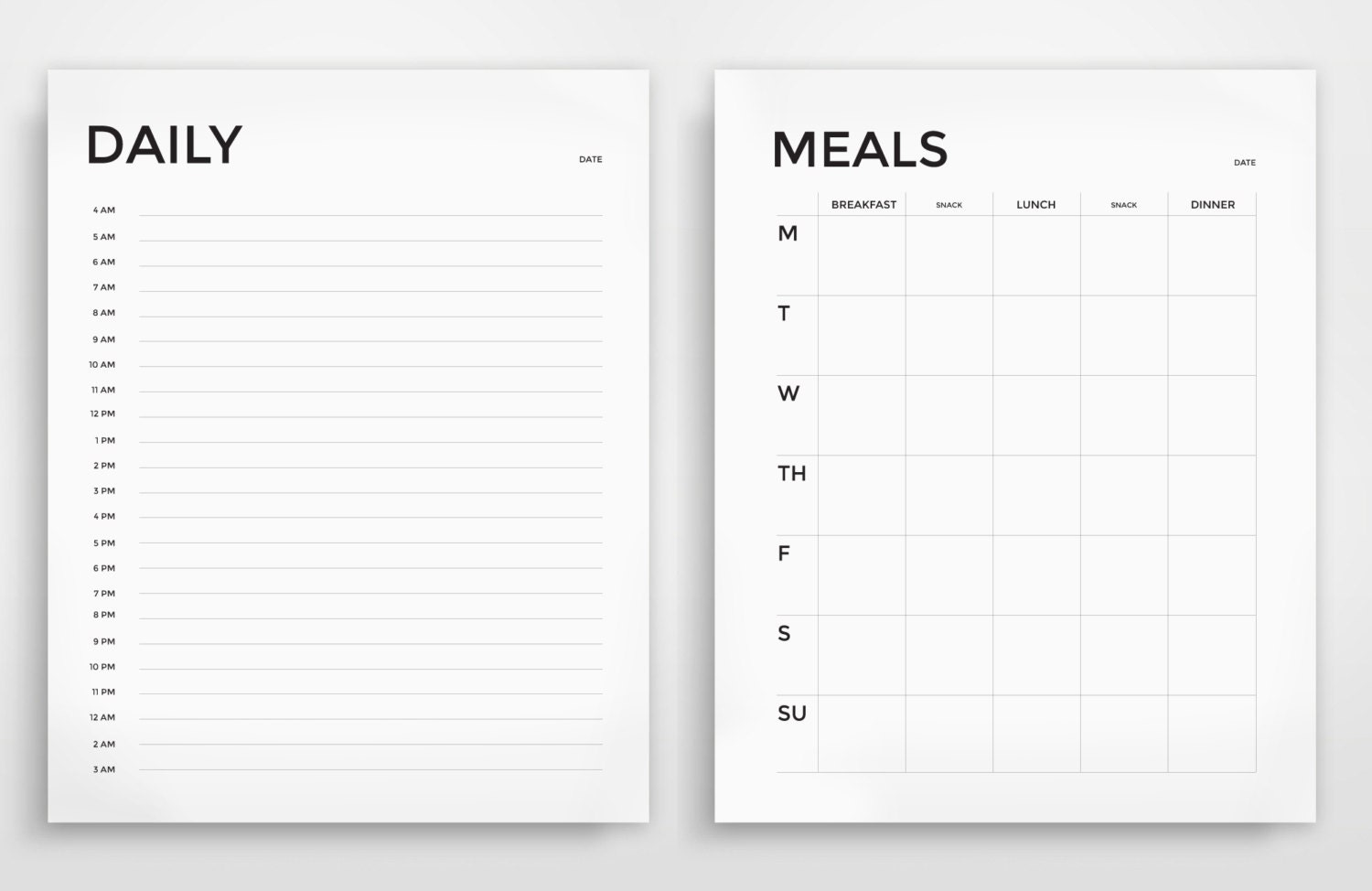 Printable Planner Daily Planner Weekly Planner Grocery - Daily organizer template