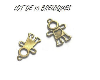 Set of 10 charms child heart bronze (T05)