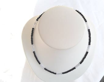 Necklace black tourmaline and chalcedony