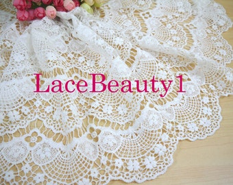 Embroidery cotton lace trim white Lace Trim Vintage Lace trim floral lace trim 34cm width 1 yard length