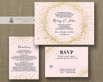 Blush Pink & Gold Glitter Wedding Invitation RSVP Info Card 3 Piece Suite Modern Deco Chic Vintage Glam Sparkle DIY or Printed - Remy