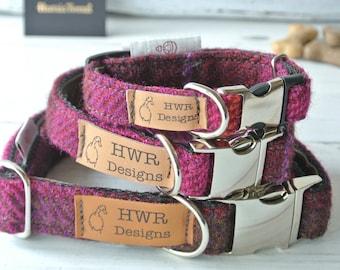 Harris Tweed Dog Collars, Tweed Dog collar, Cerise Dog Collar. Designer dog collar