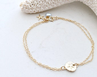 14kt gold filled Sand dollar Bracelet Pearl & starfish Bracelet starfish jewelry SandDollar jewelry Bridesmaid gifts Beach Wedding,gift